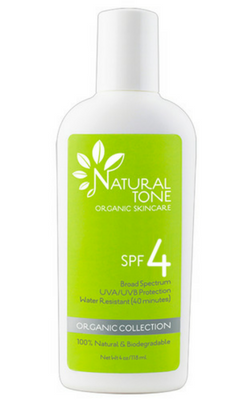 Natural Tone Organic Skincare SPF 4 Sunscreen